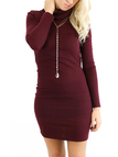 Burgundy Open Back High Neck Knit Pencil Dress with Long Sleeves