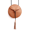 Round Mini Cross Body Bag in Brown with Tassel
