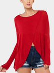 Red Comfy Cross Front Round Neck Blouse