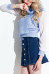 Blue Turtleneck Jumper with Chiffon Sleeve