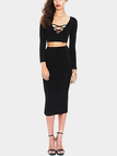 Black Hollow Out Crop Top & Midi Skirt Co-ord