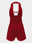 Red Backless Halter Sleeveless Cross front Playsuit
