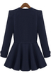 Navy Collarless Long Sleeves Coat with Flouced Hem