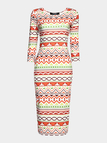 Multi Color Printing Round Neck Midi Dress with 3/4 Length Sleeves