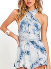Blue Tie-Dye Convertible Playsuit with Elastic Waist