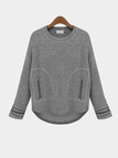 Grey Loose Sweatshirt with Zipper Pocket