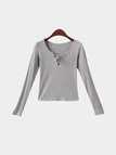 Lightgray Lace-up Long Sleeves Top
