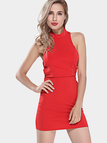 Red Crossed Back Strap Bodycon Dress