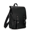 Black Leather-look Flap Front Backpack with Zip Buckle