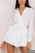 White Wave Point Long Sleeves Halter Playsuit
