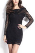 Black Long Sleeves Lace Open Back Mini Dress