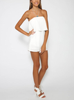 Off The Shoulder Playsuit with Layered Details in White