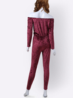 Burgundy Casual Velvet Off Shoulder Drawstring Waist Jumpsuit