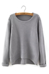 Yoins Waffle Knit Sweater in Gray