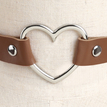 Coffee Vintage PU Leather Love Heart Choker Necklace Goth Collar Chain H for Women