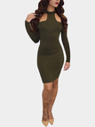 Army Green Long Sleeve Hollow Back Bodycon Halter Dress