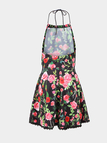 Floral Print Halter Dress with Cut Out Detail