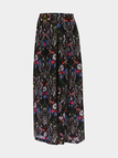 Floral Print Stretch Waistband Wide Leg Trousers