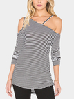 Stripe Pattern Asymmetrical Cold Shoulder Blouse