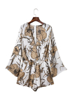 V-neck Floral Playsuit Drawstring Waist Playsuit with Long Sleeves