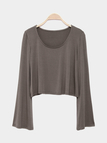 Brown Flared Sleeves Simple Style Cropped T-shirt