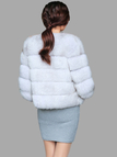 Light Grey Fluffy Artificial Fox Coat