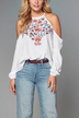 White Cold Shoulder Long Sleeves Embroidery Blouse