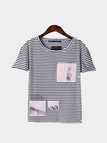 Stripe Picture Printing T-shirt