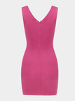 Rose Red Sleeveless Self-tie Hollow Bodycon Mini Dress