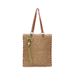 Straw-woven Beach Bag in Brown with Embellished Detail