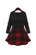 Plus Size Red and Black Checked Skater Dress