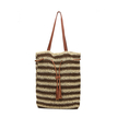 Straw-Woven Striped Lined Beach Bag in Brown with Tassel Drawstring