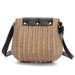 Straw-Woven Crossbody in Coffee with Tassel