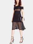 Hollow out Cold Shoulder Midi Dress with Layed Details