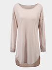 Casual Round Neck Curved Hem Dress with Long Sleeves