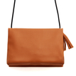 Leather-look Fold Over Across Body Bag in Brown with Tassel