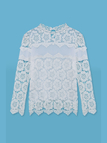 White 3/4 Sleeve Mesh Insert Crochet Top