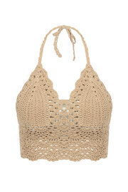 Beige Bralet Top avec bordure en crochet