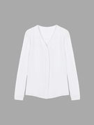 White Chiffon Blouse With Long Sleeve