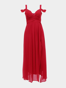 Red Sweetheart Maxi Dress with Cold Shoulder