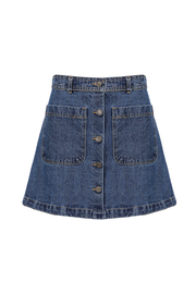 Button High Waist Denim A-line Skirt
