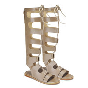 Gladiator Knee High Lace-up Flat Sandals In Apricot