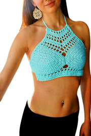 Light Blue Bralet In Mano Crochet