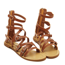 Brown Multi Buckle caviglia Gladiator Sandals