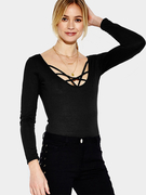 Black Sexy Bodycon Fit Bodysuit with 3/4 Length Sleeves