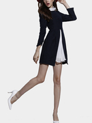 Navy Wave Point Dress with Stitching Pleated Hem