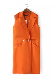 Manteau orange sans manches