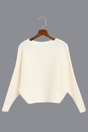 White Sexy Pullover Bat Sleeves Loose Jumper