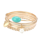 Bangle Simple Bracelet Set en or brillant