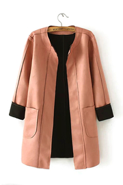 Girocollo cucitura Duster Coat con Pocket